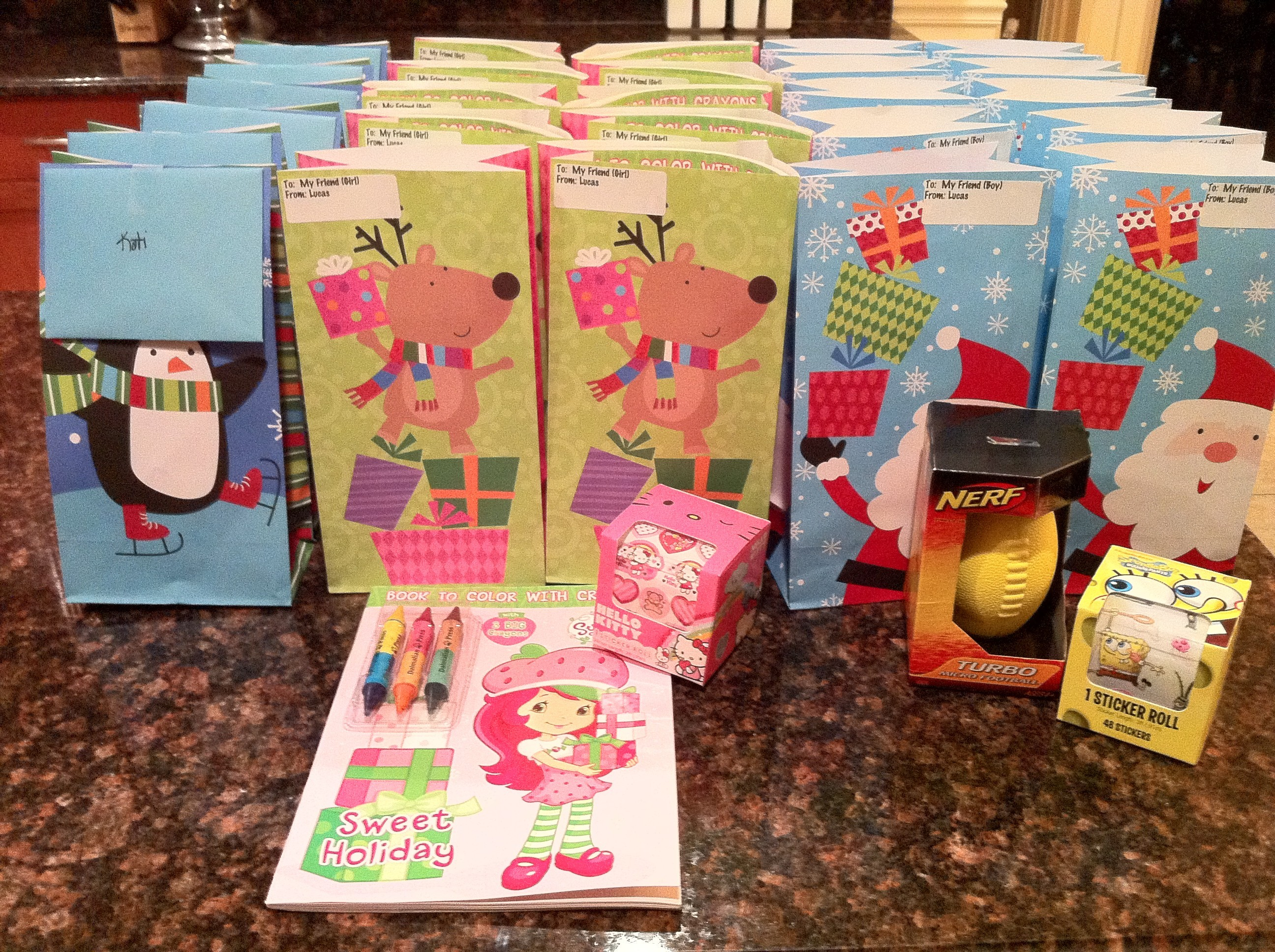 Christmas Party Gift Bags ~ Kid Style! - Subscription Box Ramblings