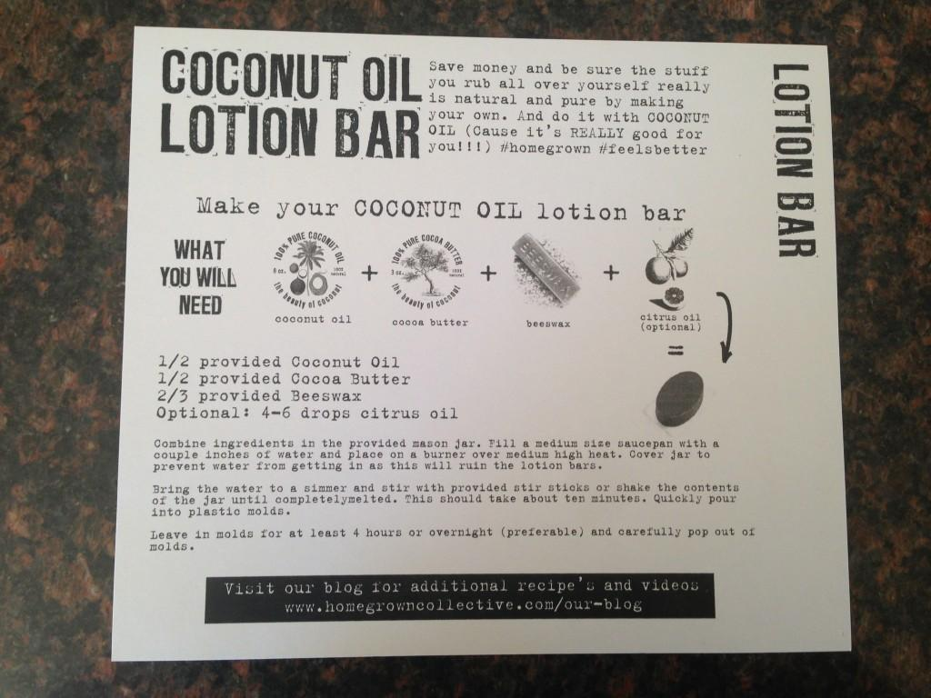 Coconut Oil lOtion Bar - The Instructions