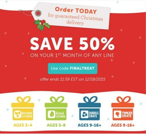 Kiwi Crate 50% Off + Last Day for Free Christmas Delivery!
