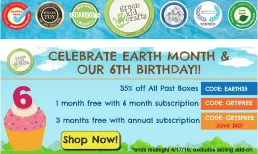 Green Kid Crafts Earth Month & Birthday Coupon Codes!