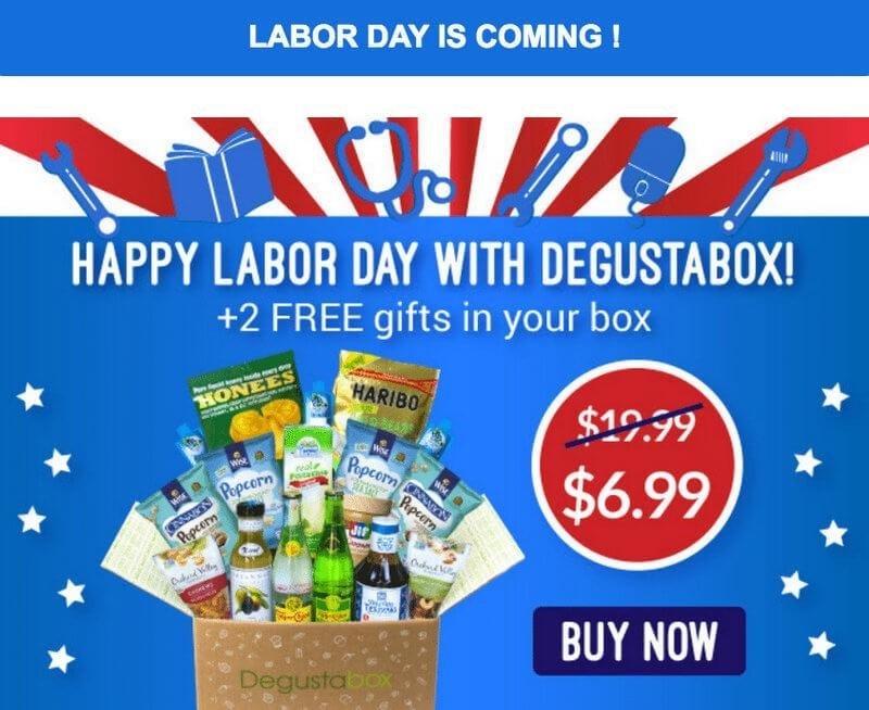 Degustabox Labor Day Sale – First Box $6.99 + 2 Free Gifts!
