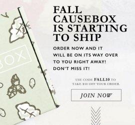 CAUSEBOX Fall 2016 Box - $10 Off Coupon Code