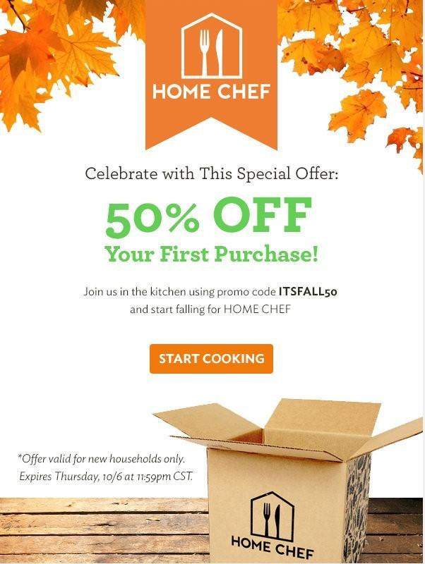 Home Chef 50% Off First Box Offer