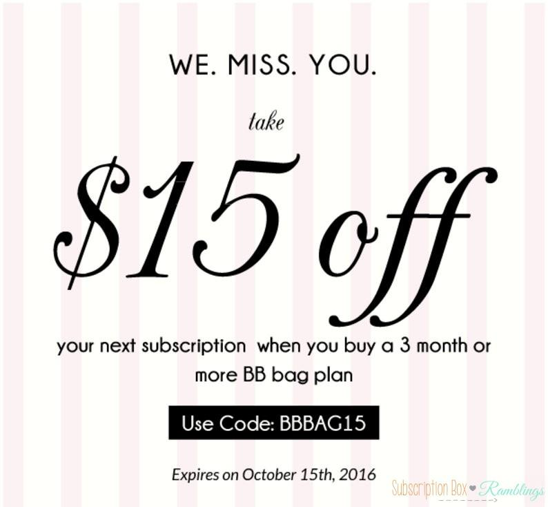 Beauteque BB Bag Coupon Code + October Spoilers!