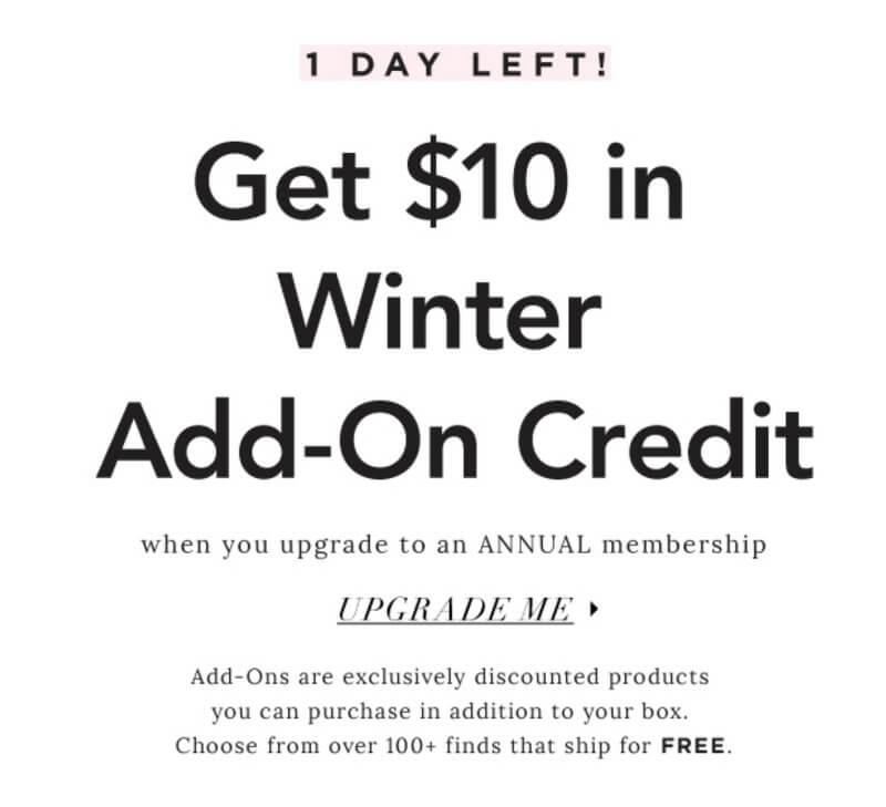 FabFitFun – Free $10 Winter Add-On Credit (with Annual Subscription Upgrade)