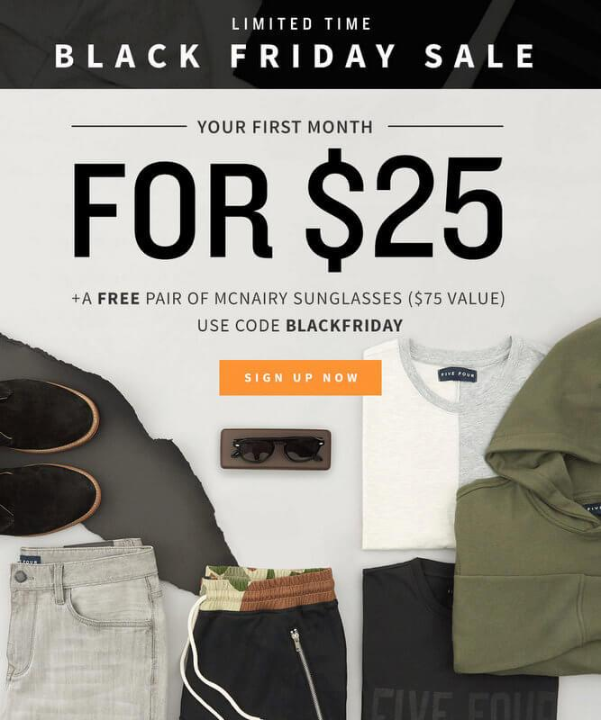 Five Four Club Black Friday Sale – First Month $25 + Free Sunglasses