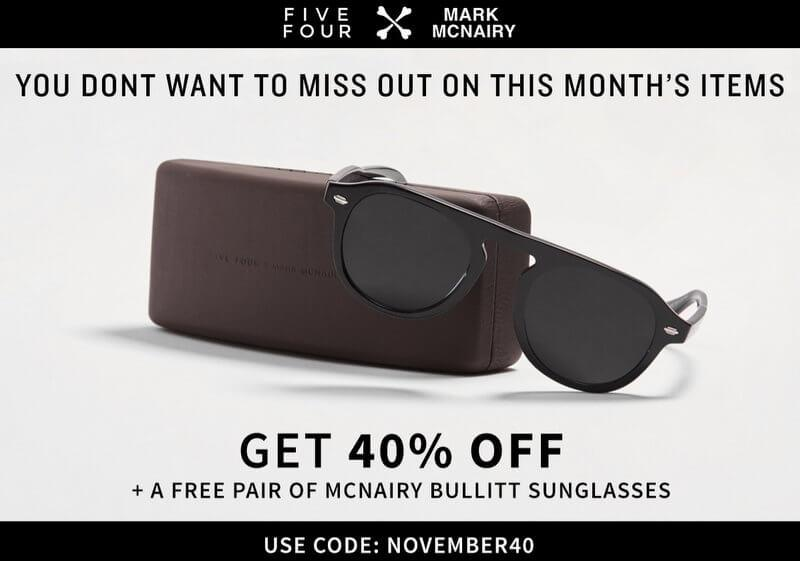 Five Four Club – 40% Off First Month + Free Sunglasses (Still Available)