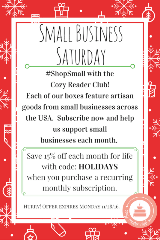 Cozy Reader Club 15% Off Small Business Saturday Sale