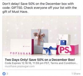 POPSUGAR Must Have Box 50% Off December Box Flash Sale!