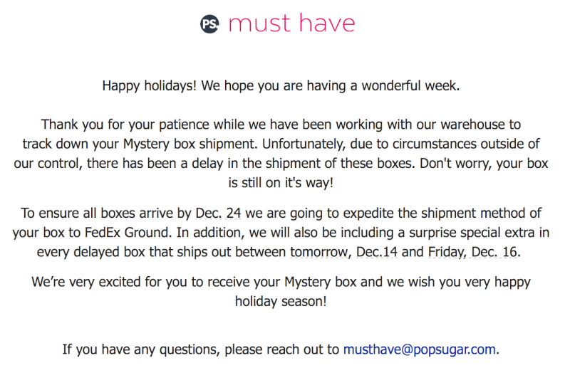POPSUGAR Must Have Mystery Box Shipping Update - Subscription Box