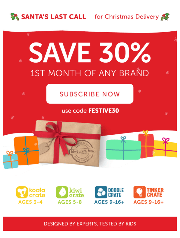 Kiwi Crate – 30% Off First Month + Christmas Delivery (Last Day)