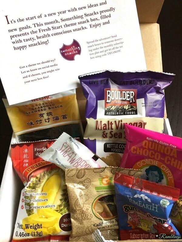 Something Snacks Subscription Box Review January 2017