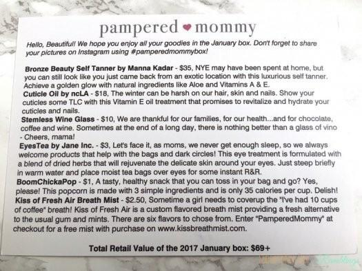 Pampered Mommy Box Review - January 2017