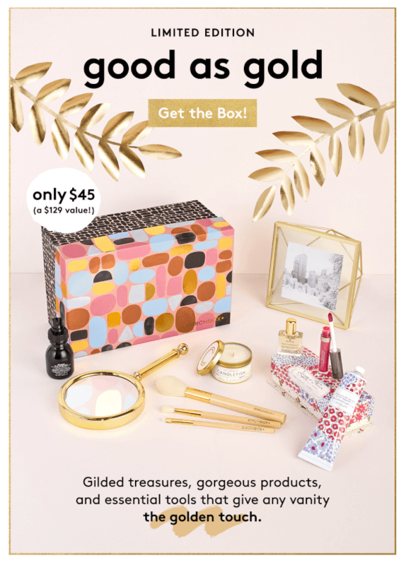 Birchbox – Good As Gold Limited Edition Box – Almost 50% Off!