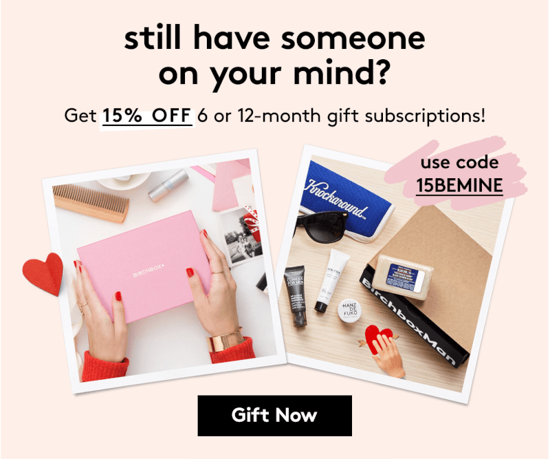 Valentines day coupon code round up subscription box ramblings birchbox coupon code 15 off 6 12 month gift subscriptions malvernweather Choice Image