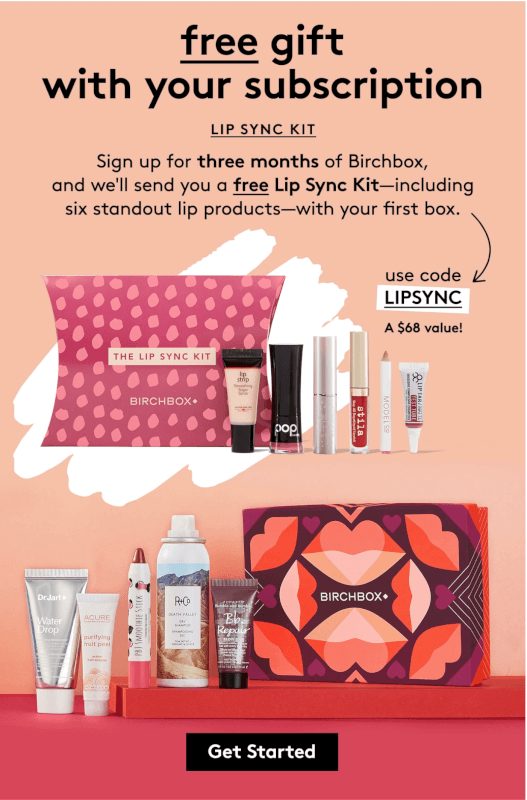 Birchbox Coupon Code – Free Lip Sync Kit with 3-Month Subscription