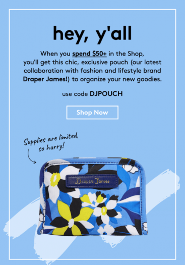 Birchbox Coupon Code - Free Draper James Pouch with $50+ Purchase