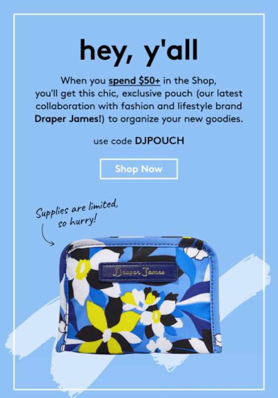 Birchbox Coupon Code – Free Draper James Pouch with $50+ Purchase