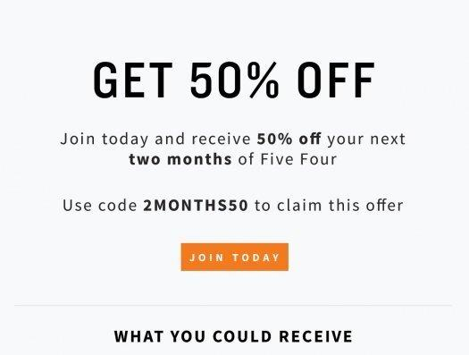 Five Four Club Coupon Code – First Two Months 50% Off