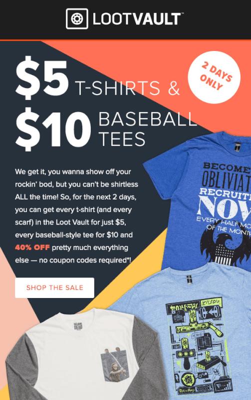 Loot Vault $5 Tees / $10 Baseball Tees