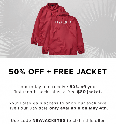 Five Four Club Coupon Code – 50% Off + Free $80 Jacket!