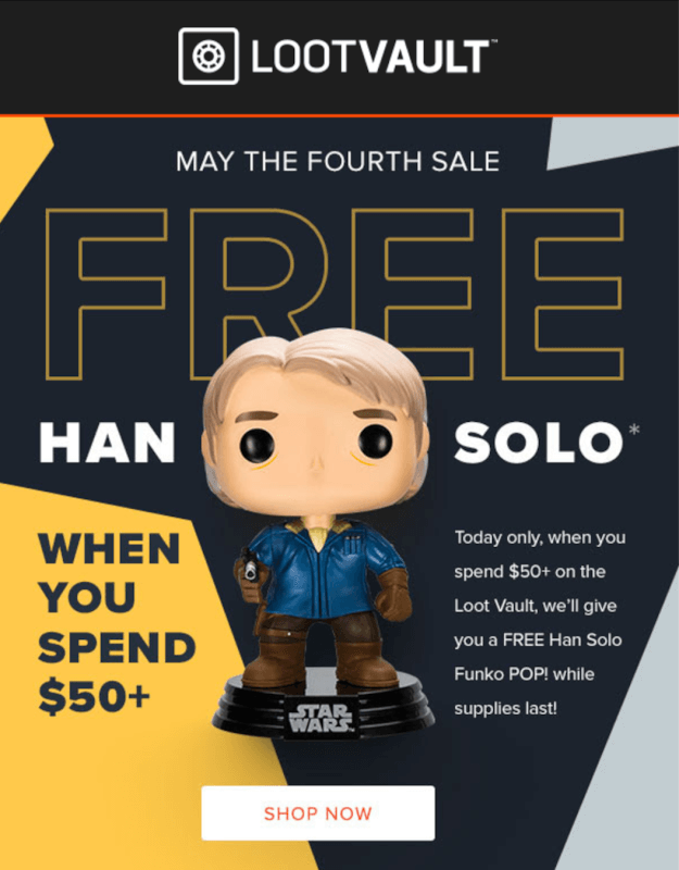 Loot Vault Flash Sale: Free Han Solo Funko POP when you spend $50+