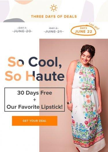 Free Month of Gwynnie Bee + FREE Lipstick (TODAY ONLY)!