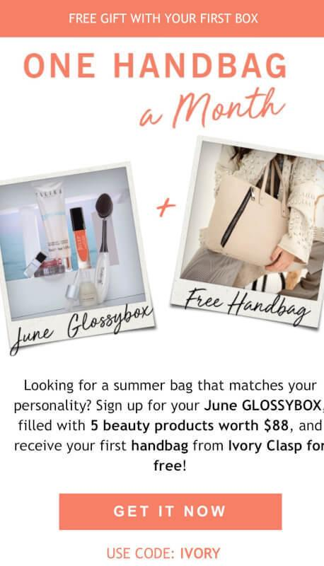 GLOSSYBOX Coupon Code – Free Month of Ivory Clasp with June Box