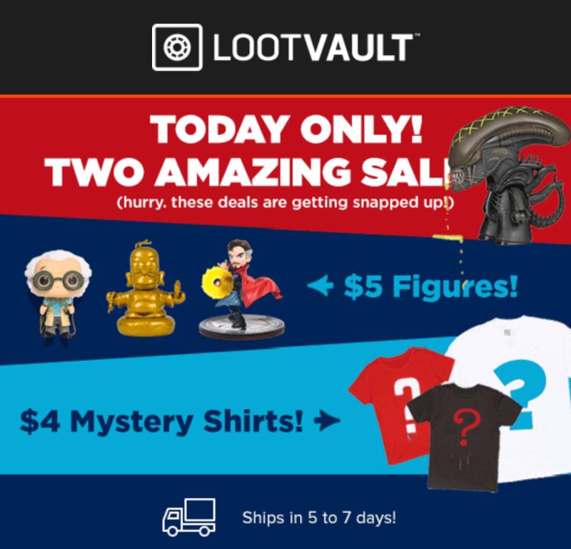 Loot Vault Sale – $4 Mystery Shirts + $5 Figures