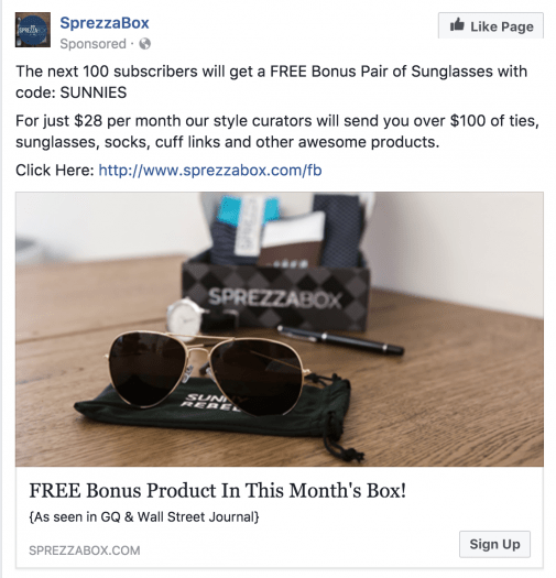 SprezzaBox Free Sunglasses for New Subscribers!