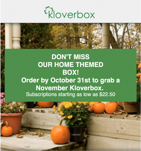 Kloverbox 20% Off Coupon Code + November 2017 Spoiler!