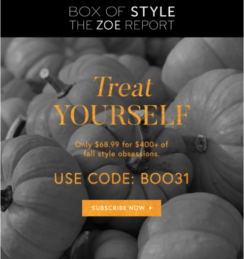 Box of Style by Rachel Zoe Halloween Flash Sale -Save $31 Off your First Box!