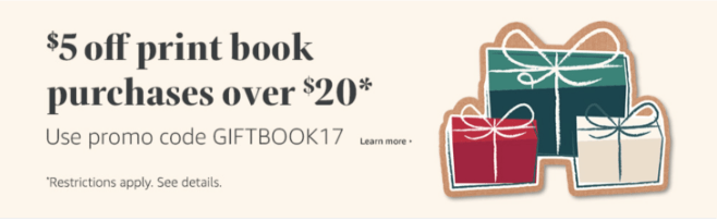 Amazon – $5 off $20+ Book Purchase Coupon Code (Expires Tonight)