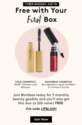 Birchbox Coupon – Free Lip & Lash Duo with New Subscriptions