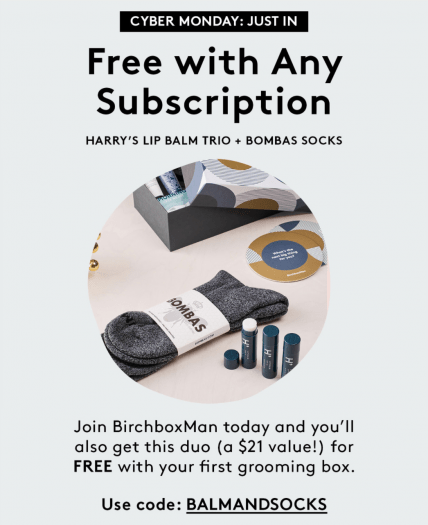 Birchbox Man Coupon Code – Free Gift Harry's Lip Balm Trio and Bombas Socks with New Subscription