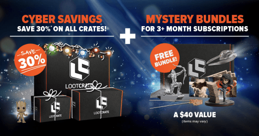 LAST DAY: Loot Crate Cyber Monday Sale – 30% Off + Free Mystery Bundle