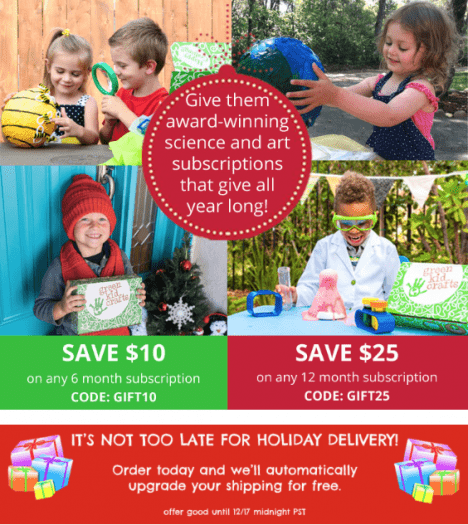 Green Kid Crafts Holiday Sale – Save up to $25 + Last Day for Holiday Delivery!