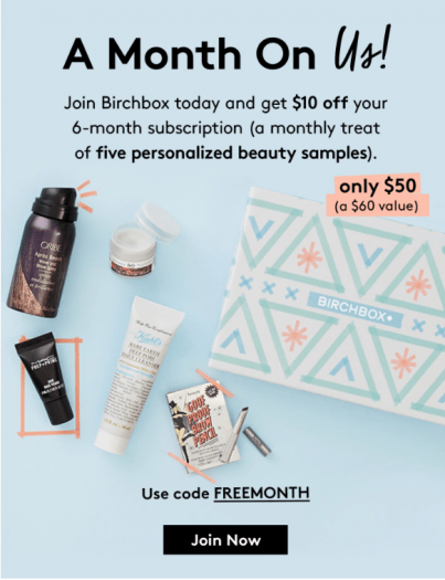 Birchbox Coupon - $10 Off a 6-Month Subscription