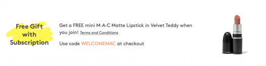 Birchbox Coupon – FREE mini M·A·C Matte Lipstick in Velvet Teddy with New Subscriptions