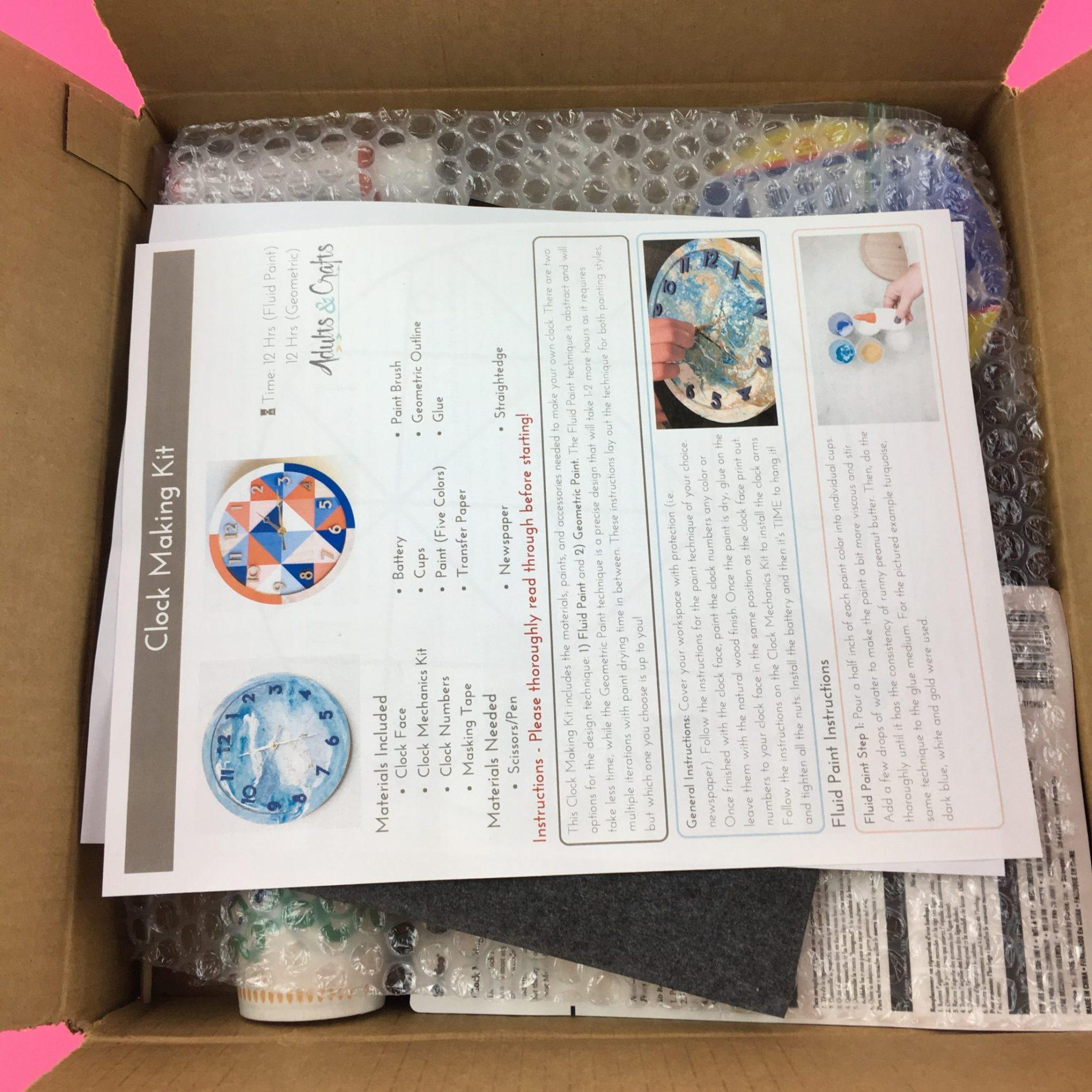 Adults crafts review clock making kit january 2018 for Craft subscription box for adults