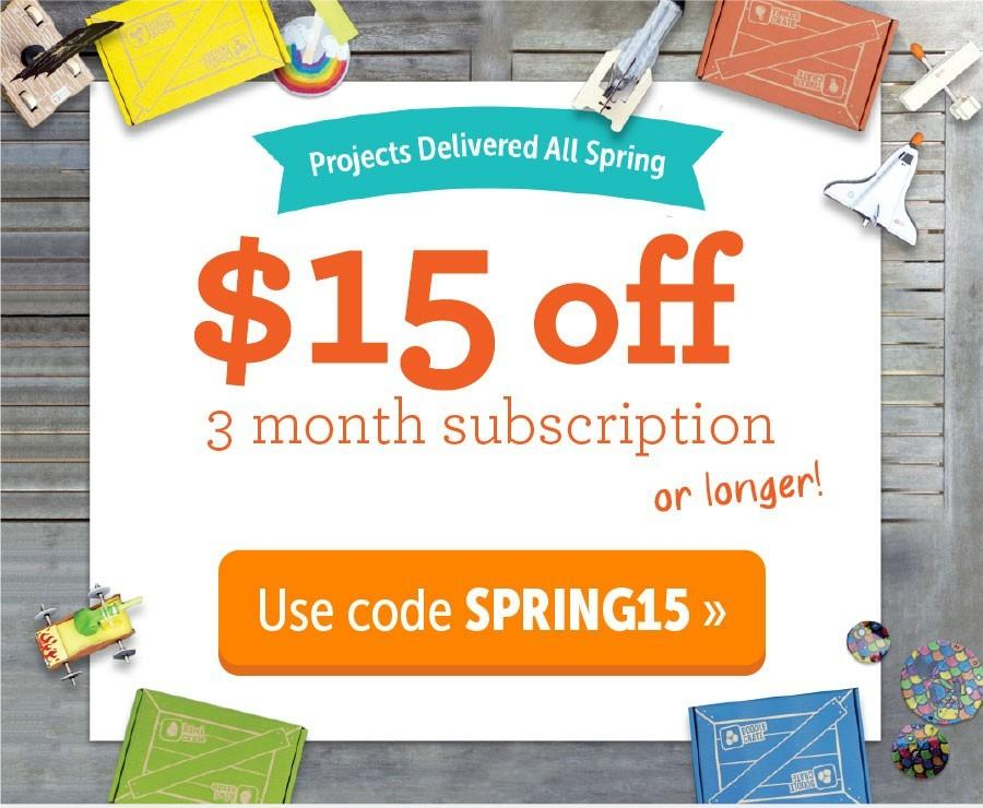 KiwiCo $15 Off 3+ Month Subscription!