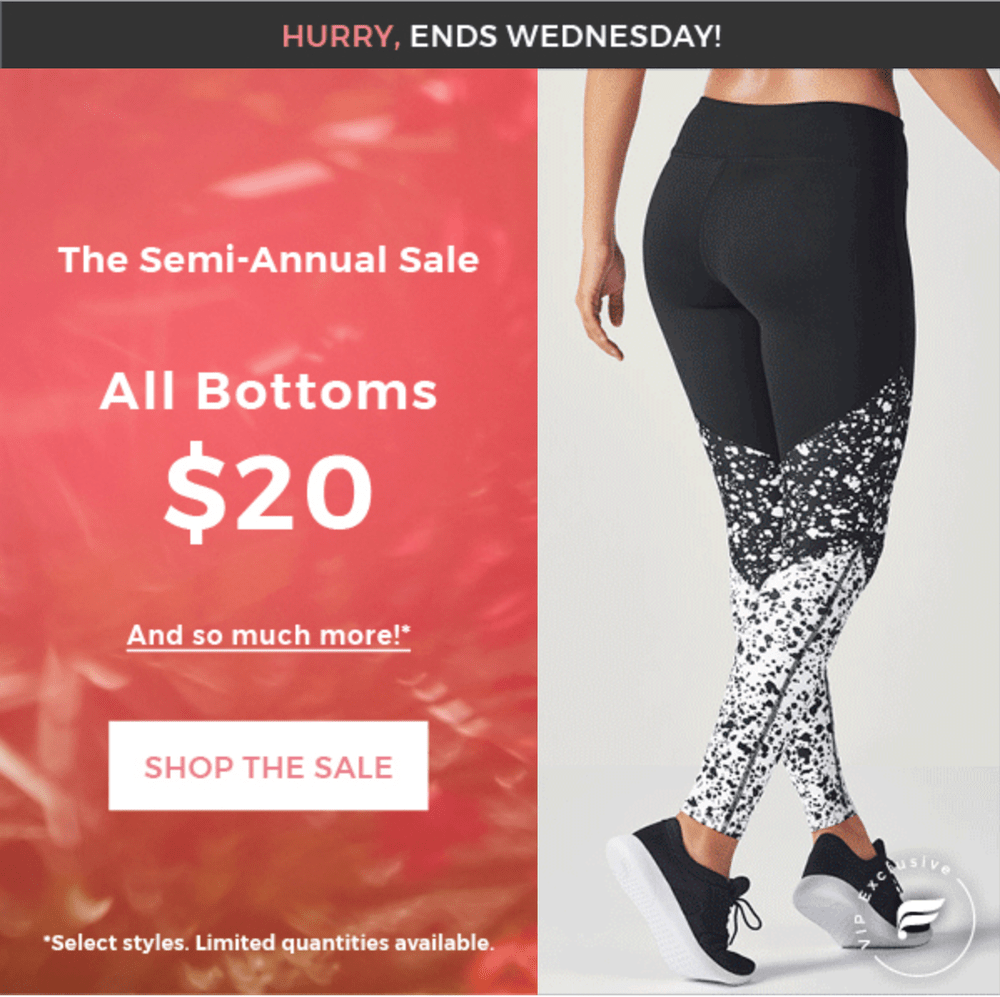 c12e17eb77dc69 The Fabletics Semi-Annual is on now and they are offering all bottoms for  $20 for VIP members! No coupon code necessary!