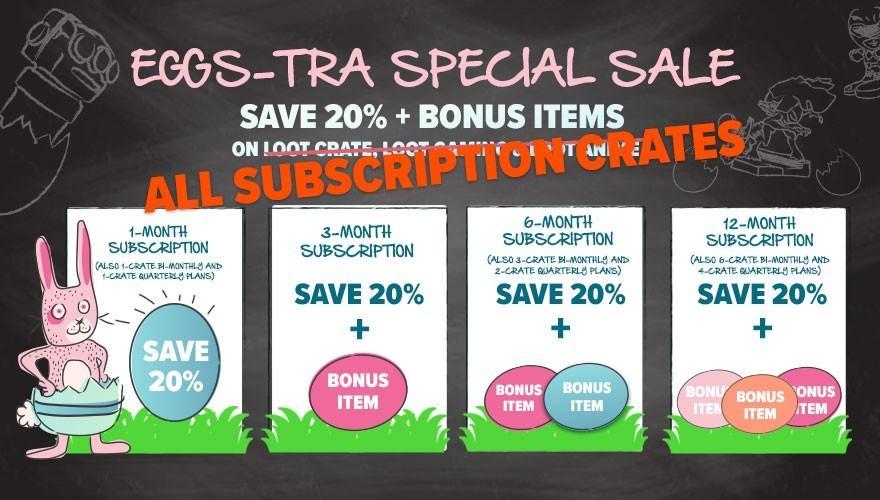 Loot Crate – 20% Off ALL CRATES + Free Bonus Items