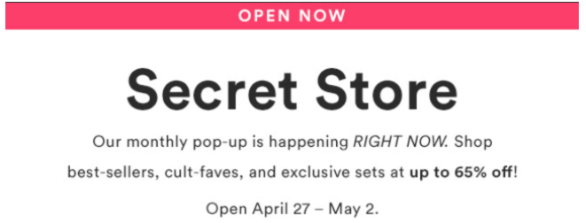 Julep Secret Store Now Open – May 2018