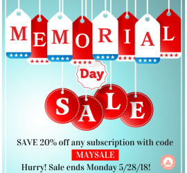 The Cozy Reader Club Memorial Day Sale is on now! Use code MAYSALE and save 20% off a monthly, three month or six-month subscription!