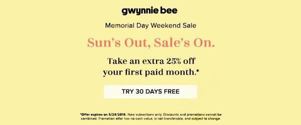 Gwynnie Bee – First Month FREE + 25% Off First Paid Month