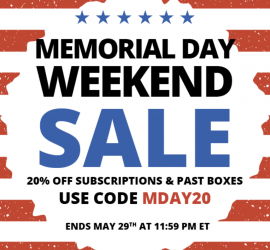 "COCOTIQUE Memorial Day Sale Alert!  Use coupon code ""MDAY20 "" to save 20% off all subscriptions and past boxes."