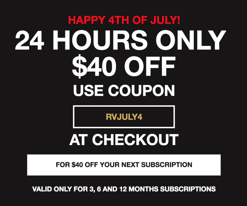 EXTENDED: Robb Vices 4th of July Sale – $40 Off 3-Month Subscription!