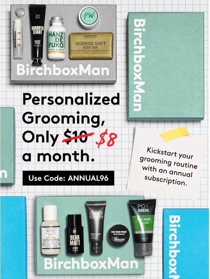 Birchbox Man Coupon: Annual Subscription for $8/Box