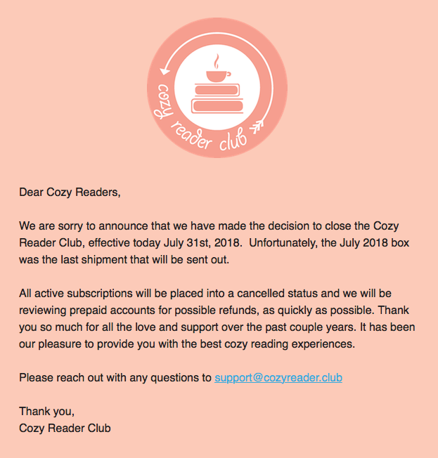 Cozy Reader Club Subscriptions Have Ended